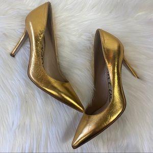 Sam Edelman Metallic Gold Pointed Toe Heels